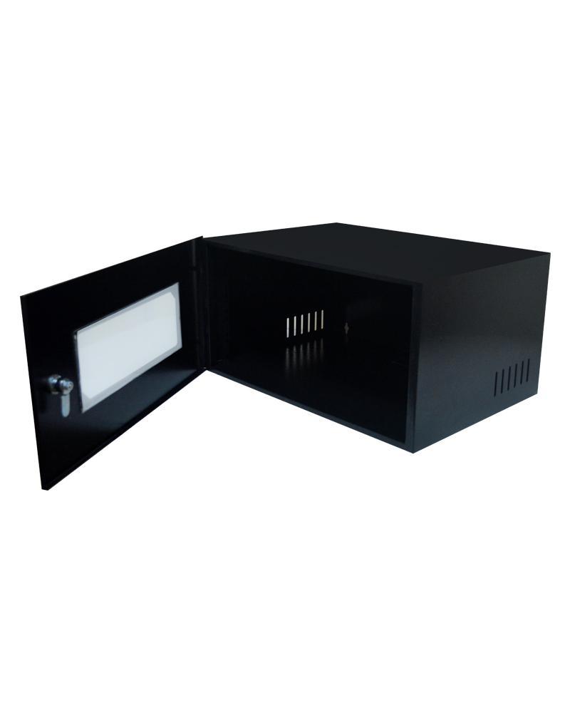 Mini Rack 5u x 350mm Economic Porta c/ Visor Acrílico Preto