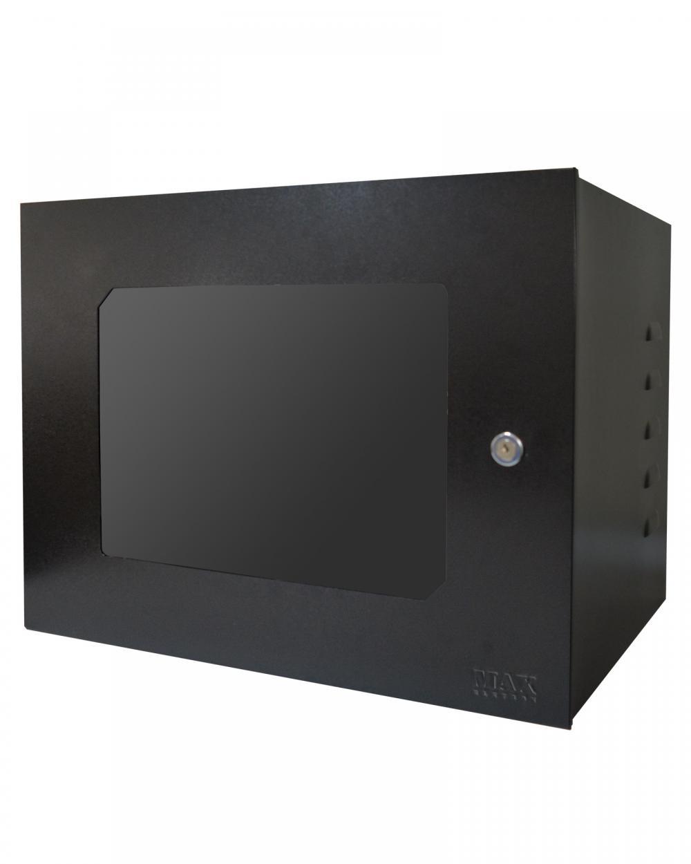Mini Rack 8U x 350mm Economic Porta c/ Visor Acrílico Preto